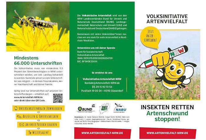Flyer: Volksinitiative Artenvielfalt NRW