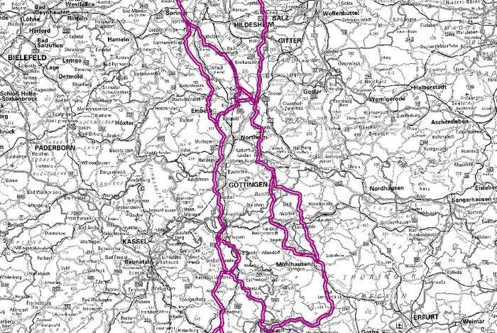 Übersichtkarte der Vorschläge für Erdkabel-Korridore für die Stromleitung SuedLink