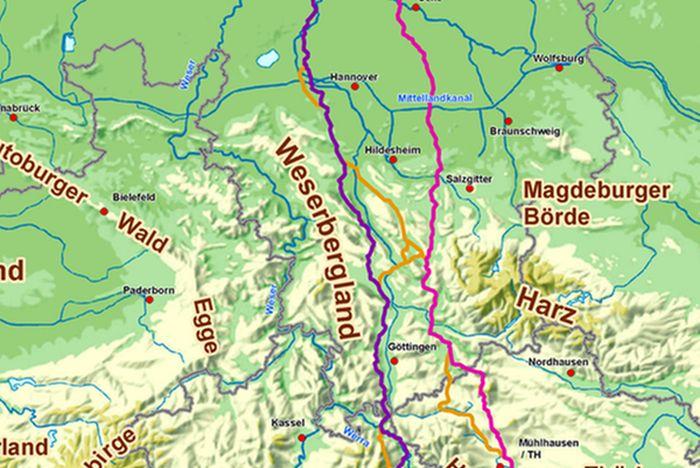 Vorschlagskorridor und Korridornetz für die Erdkabel-Leitung SuedLink