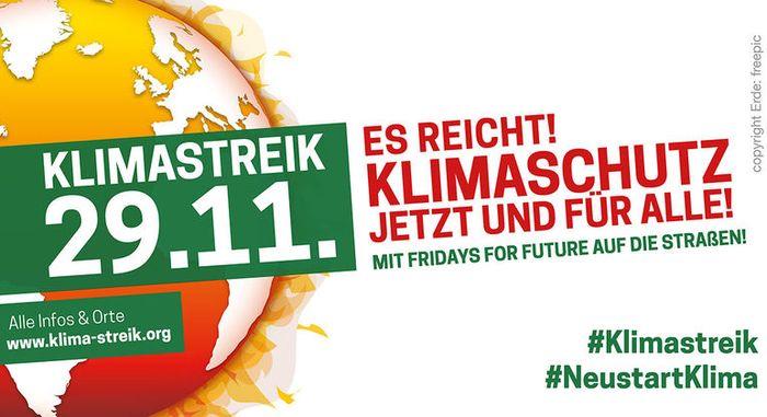 Banner: Klimastreik am 29.11.2019