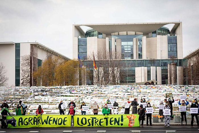 Wir haben es satt! - Aktion Fußabdruck in Berlin